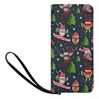 INTERESTPRINT Cute Sports Owls in Christmas Winter Clutch Purse for Women Evening Party