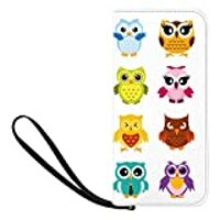 INTERESTPRINT Happy and Joyful Cartoon Funny Owls Clutch Purse for Women Evening Party