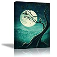 Tku's Owl on Tree Canvas Wall Art Teal Green Painting Animal Wall Decor Moon Picture Home Decoration for Bedroom (Waterproof, Ready to Hang)