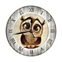 FeHuew Vintage Wooden Owls Print Decorative Round Wall Clock 9.5 Inch Non Ticking Battery Operated for Student Office School Home Decor Silent Desk Clock Art