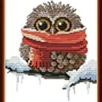Cross Stitch Kits, Awesocrafts Owl Scarf Cute Christmas Winter Easy Patterns Cross Stitching Embroidery Kit Supplies Christmas Gifts, Stamped or Counted (Owl 4, Stamped)
