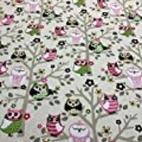 "Waverly 45"" Sit'n A Tree Fruit Punch Owls Fabric By the Yard"