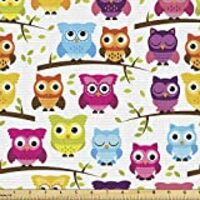 Lunarable Owls Fabric by The Yard, Owls in The Forest Woodland Celebration Friendship Togetherness Themed Artwork Print, Decorative Fabric for Upholstery and Home Accents, 1 Yard, Green Magenta