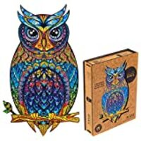 Unidragon Wooden Puzzle Jigsaw, Best Gift for Adults and Kids, Unique Shape Jigsaw Pieces Charming Owl, 9.9 х 17.1 inches, 330 pieces, King Size