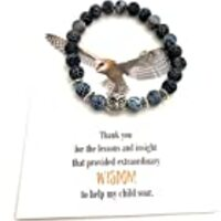 Smiling Wisdom - Owl Stretch Bracelet - Thank You Teacher Appreciation Gift Set - For Her Woman from Parent of Boy or Girl – Blue Effloresce Agate