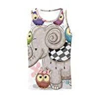 INTERESTPRINT Men's Athletic Compression Under Base Layer Sport Tank Top Elephant and Five Owls L