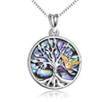 Sterling Silver Family Tree of Life Pendant Necklace with Owl Jewelry Gifts for Women Teens Girls Mom Daughter Wife Girlfriend (Gold owl and tree of life)