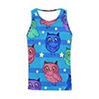 InterestPrint Men's Athletic Compression Under Base Layer Sport Tank Top Beautiful Owls XS
