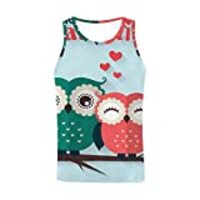 InterestPrint Men's Athletic Compression Under Base Layer Sport Tank Top Valentine's Day Cute Owls XS