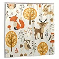 Colorful Cute Cartoon Fox Owl Elk Rabbit Shower Curtain Fall Tree Maple Mushroom Watercolor Shower Curtain Autumn Forest Wildlife Shower Curtain Funny Animal Forest for Bathroom Waterproof