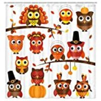 Fall Thanksgiving Turkey Shower Curtain, Cute Cartoon Funny Owl on Wooden Branches with Falling Maple Leaves for Kids Fabric Shower Curtain, Farmhouse Autumn Pumpkin Cloth Bathroom Curtain 69X70in