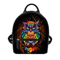 Showudesigns Owl Backpack for Women Mini Backpack with Inner Pouch Purse Leather Rucksack Travel Daypack Teen Girls Gifts Cute Animal Rainbow Feather