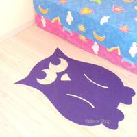 Owl nursery rug. Thin playroom owl rug for kids.