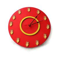 Round Large red color wall clock, Owl wall clock, Kids, Home, Wall art, Children room, Christmas gift