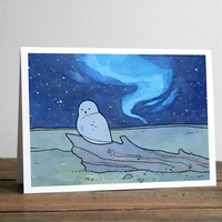 Snowy Owl Christmas Card - Northern Lights Holiday Notecards