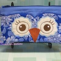 CLEARANCE, Owl Wristlet Purse, Blue travel bag, clutch purse, handbag, applique owl purse, travel purse, zipper bag, cosmetic bag, Carry All