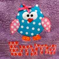 Personalized Towel- applique name- custom towel-owl towel-great for beach, bath, Birthday Gifts, Daycare