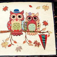 "Colorful Owls Fabric Linen Cotton Fabric Owls Lover Fabric Pillow Cushion Bag Panel Fabric,One Panel 19""x 19"" (50cm X 50cm) h44"