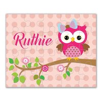 Personalized Owl Puzzle - Hot Pink Owl, Peach Coral Polka Dots Owl Kids Personalized Puzzle, You Pick Owl - Kids Personalized Gift under 20