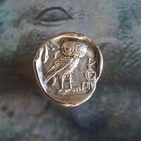 OWL of Athena - Bronze handmade ring - Greek coin - OWL