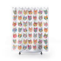 shabby chic shower curtain, owls shower curtain, owl shower curtain, shabby chic bathroom decor, owl decor, colorful shower unique shower