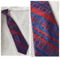 Cool Vintage Clip-On Tie - Red and Blue Tie with Owls - Bird Tie - JCPenney Towncraft Snapper