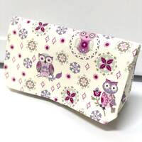 Coupon Organizer Woman's Budget Organizer  Receipt Holder Attaches to your Shopping Cart Purple Owls on Cream Ready to Ship