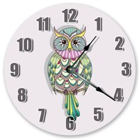 "10.5"" Beautiful Owl on Branch Clock - Colorful Clock - Living Room Clock - Large 10.5"" Wall Clock - Home Décor Clock - 3440"