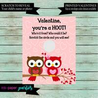 Owl Valentine's Day Kids Valentine Scratch Off Cards Tickets Party Favors Gifts School Class Personalized Custom