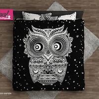 Black and White Duvet Cover Set, Bohemian Bedding Set, Cute Owl Duvet Cover, King Queen Full Twin Bedding, Pillow Covers 148