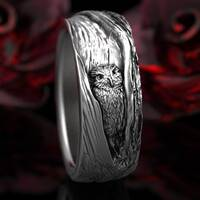 Sterling Silver Owl Wedding Ring, Owl Wedding Band, Tree Bark Wedding Rings, Mens Owl Wedding Ring, Barn Owl Ring 5111