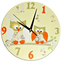 Owl Clock / Personalized / Children's wall Clock / Nursery Clock - Blue, Pink, Yellow