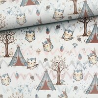 Forest Friends Owls Fabric by the half yard, Woodland Fabric, Forest Animals Premium Fabric, kids fabric high quality cotton 50cm/19,7x59""