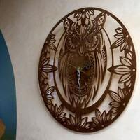 Wooden Wall Clock Unusual wall clocs Owl Symbol Wisdom Handmade Clock Eco Clock 16,7 Inch Esoteric home decor ULTIMATE GIFT Bestseller clock