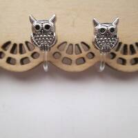 Silver Owl Invisible Clip On Earrings