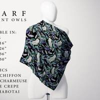 Elegant Owl Scarf with Bats, Moths, Square Scarf, Large, Medium and Small