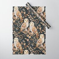 Wooden Wonderland Barn Owl Collage wrapping paper